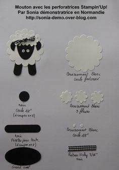 Voici la troisième fiche de création avec les perforatrices Stampin'Up!: le mouton (que vous pouvez trouver sur le net sur plusieurs sites, blogs) Pour faire le mouton, vous avez besoin: - papier cartonné noir nu - réf 110031 p 712 du catalogue 2009/2010...
