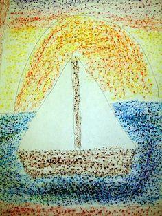 Artsonia Art Museum :: Artwork by allison598, Seurat Sailboats, grade 2
