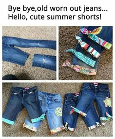 Cute idea for ragged-hemmed jeans #shortgirlproblems