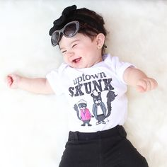 The most adorable baby girl in our punny Uptown SKUNK onesie. I mean, don't the skunks looks exactly like Bruno Mars and Mark Ronson??