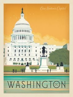 Washington D. Washington Dc Capitol, Washington Dc Travel, Voyage Usa, Vintage Travel Posters, Travel Usa, Vintage Pictures, Wyoming, New Mexico, Maryland