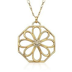 """C. 1980 Vintage Tiffany Jewelry Diamond and 18kt Yellow Gold Open Floral Pendant Necklace. 30"""""""