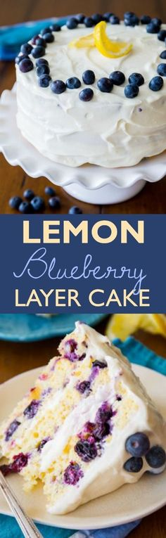 Lemon Blueberry Layer Cake …..Sunshine sweet lemon layer cake dotted with juicy blueberries and topped with lush cream cheese frosting. Take a bite and taste the bursts of bright flavors!