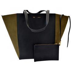 CELINE Black Leather Handbag Cabas Phantom