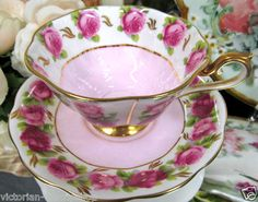 Royal Albert Tea Cup and Saucer Pink Teacup with Roses Avon Shape | eBay