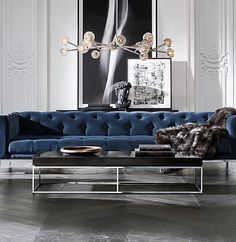 The New Rules of Modern Decor-Still thinking of modern seating as hard and uncomfortable? RH Modern explodes that cliché by redesigning the traditional chesterfield sofa to be sleek (metal legs and a squared-off frame) but still sumptuous. Living Room Modern, Living Room Designs, Living Room Decor, Living Rooms, Apartment Living, Living Room Inspiration, Luxury Living, Modern Decor, Modern Art