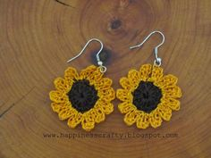 Happiness Crafty: Sunflower Crochet Earrings ~ Free Pattern