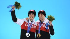 Medal Ceremony - Winter Olympics Day 4   SOCHI, RUSSIA - FEBRUARY 11: Silver medalist Mikael Kingsbury of Canada (L) and gold medalist Alex Bilodeau of Canada celebrate on the podium during the medal ceremony for the for the Freestyle Skiing Men's Moguls on day 4 of the Sochi 2014 Winter Olympics at Medals Plaza on February 11, 2014 in Sochi, . (Photo by Streeter Lecka/Getty Images)                                                                                                      ...