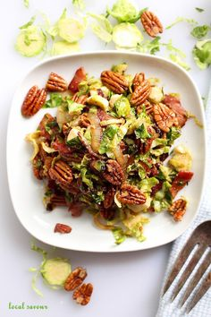 Maple Bourbon Bacon Pecan Brussel Sprout Salad - Powered by @ultimaterecipe