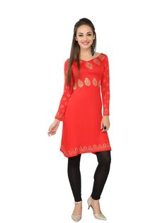 Ira Soleil Red Block Printed Viscose Kurti For Women @Looksgud.in #IraSoleil #Red #Kurti