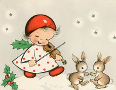 Vintage Christmas Greeting Card ARS Sacra Eva Harta Angel Rabbits Violin EB6863 | eBay