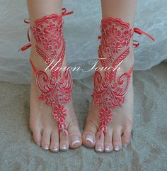 Red silver lace barefoot sandals beach wedding barefoot Beach Wedding Sandals, Bare Foot Sandals, Barefoot, Weddings, Trending Outfits, Unique Jewelry, Lace, Handmade Gifts, Red