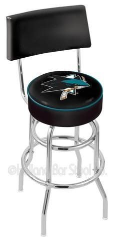 """San Jose Sharks Swivel Bar Stool With Back by Holland Bar Stool. $96.56. Swivel Bar Stool With Back. Unisex Adults. Please Select Seat Height From The Drop Down. Commercial Grade Vinyl. Officially Licensed San Jose Sharks Swivel Bar Stool With Back. San Jose Sharks metal swivel bar stool with back. Seat boasts a 15"""" diameter, commercial grade vinyl 4"""" cushion with silk screened logo. The silk screening process uses specially formulated vinyl paints which guarantee the logo will ..."""