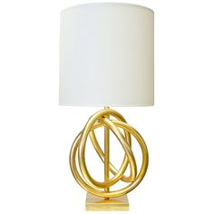Interwoven Rings Table Lamp with White Shade – Gold Leaf