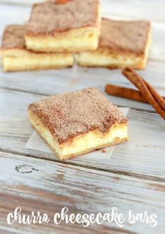 the crunchy cinnamony goodness of a churro filled with a tangy cream cheese filling. The best of two desserts rolled into one! the crunchy cinnamony goodness of a churro filled with a tangy cream cheese filling. The best of two desserts rolled into one! Sopapilla Cheesecake Bars, Cheesecake Bites, Cheesecake Desserts, Dessert Simple, Holiday Desserts, Easy Desserts, Dessert Recipes, Holiday Baking, Thumbprint Cookies