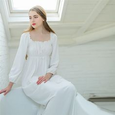 White Long dressing gown Cotton Nightgowns Women Sleep & Lounge Square Collar long-sleeved Elegant Lady Home Cloth Simple design Elegant Woman, Sleeping Gown, Long Gown Dress, Nightgowns For Women, Plus Size Kleidung, All About Fashion, Night Gown, Night Suit, Get Dressed