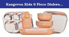 Kangovou Kids 9 Piece Dishware Set (Peaches and Cream). Kangovou creates high quality food-grade stainless steel kid's dishware products that are BPA, PVC, phthalate, lead, and melamine free. This set includes 18/8 food grade stainless steel: divided plate which keeps foods separated and provides a built in space for condiments; flat plate is used for larger food items such as a sandwich or a slice of pizza; cereal bowl used for cold or hot cereal or even soup; snack bowl used for…