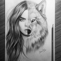 Cara x Wolf By _ Also check out our new art featuring page _ Via by arts_help Girl Drawing Sketches, Pencil Art Drawings, Animal Sketches, Animal Drawings, Fantasy Kunst, Fantasy Art, Desenho Tattoo, Native American Art, New Art