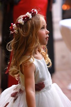 #Red and #White #FlowerGirl #Headband more wedding ideas at www.facebook.com/villasiena