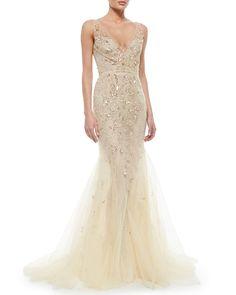 Oscar de la Renta Floral-Beaded Tulle Mermaid Gown