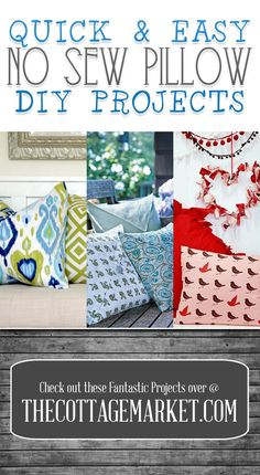 Quick & Easy NO Sew Pillow DIY Projects - The Cottage Market #No-SewPillows, #No-SewPillowDIYProjects, #NoSewPillowDIYProjects