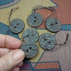 Handmade Stoneware Clay Buttons Patterned with Intaglio