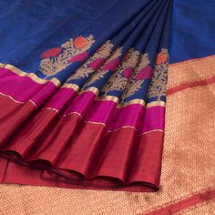 Shivangi Kasliwaal Dark Blue Handwoven Banarasi Silk Saree with Multicolour Border 10009193 - AVISHYA.COM