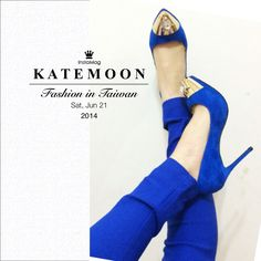 New baby from Taiwanese designer Katemoon Blue pointy heels with gold caps, inspired by McQueen