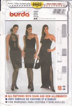 Sewing Pattern Burda 8602 Size 10 12 14 16 18 20 22 24 26 Plus Size Miss Womens Sexy Cocktail or Evening Length Skirt Slim Fitting FF UNCUT by LanetzLiving on Etsy Burda Sewing Patterns, Plus Size Sewing Patterns, Simplicity Sewing Patterns, Star Patterns, Strapless Dress Formal, Size 10, Cocktail, Dresses With Sleeves, Slim