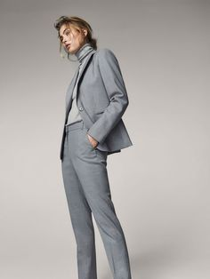Fall Winter 2017 Women´s SLIM FIT GREY WOOL TROUSERS at Massimo Dutti for 120. Effortless elegance!