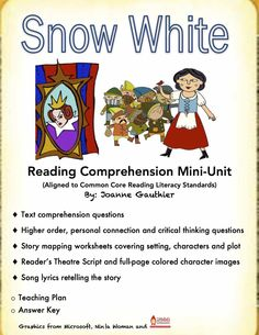 Kids usually love reading fairy tales and this Snow White unit will build reading comprehension skills while allowing the students to have fun with literacy. A range of activities, including drama and singing, are provided to help you cater to the different needs in your classroom.