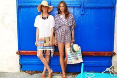 How hot is the colour of the door! the turkish towell inspired kaftan and sassy short printed top feature relaxed styling and shapes. Hats, jewellery and beach bags complete the look ! Keeping it casual for fun in the sun Jacques Cousteau, Spring Summer 2015, Printed Shorts, Kaftan, Campaign, Cover Up, Beach Bags, Hot, Sassy