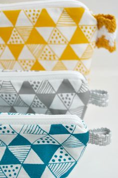 Yellow Triangle Mania screen printed fabric.