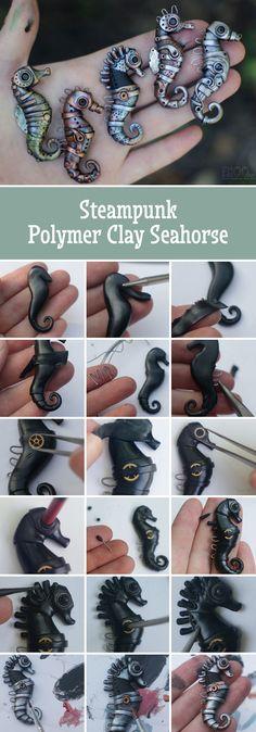 Steampunk Polymer clay Seahorse tutorial | Лепим морского конька в стилистике биомеханика