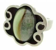 Bent Larsen pewter ring with agate #627