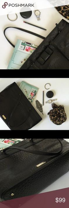 """[Kate Spade] black textured 100% leather! Beautiful briefcase or baby/diaper bag or casual carry on...whatever you want it to be. Carried once. Mint condition. See bottom studs for protection. 100% leather. Lining = poly. Pockets everywhere (4 total) not including main compartment. Zipper closure. 19.25"""" top opening. 13.25"""" bottom of bag (tapers). This fits my MacBook Pro, wallet and mag for the plane perfectly. 💖💖💖 kate spade Bags Laptop Bags"""