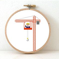 CRANE OPERATOR Cross stitch pattern. Gift for boy. Crane embroidery decor. Operator gift. Crane toy illustration. DIY present for boy