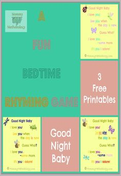 Fun Bedtime Rhyming Game Printables |  Emotional Bonding & Educational Fun for your baby, toddler, preschooler.  Print at mommymethodology.com