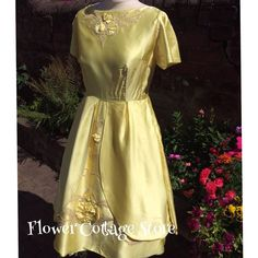 Gorgeous Sunshine Yellow Satin 50s/60s Embellished Cocktail Eve Dress Size 10