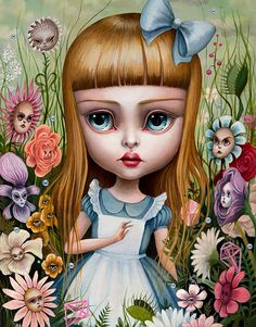 'Alice in the Garden Talking Flowers', Oils on linen by Mab Graves