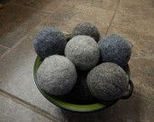 Ovella Wool Dryer Balls, The Lixo Collection. Set of Nine (9) natural sheep color, no dyes, brown, grey, masculine, feminine, solid color - pinned by pin4etsy.com