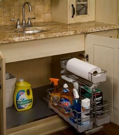 Under-the-sink cleaning supplies organizer.