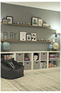 Toy Storage Bins, Game Storage, Kids Storage Shelves, Corner Storage, Toy Bins, Record Storage, Open Shelving, Playroom Design, Playroom Decor