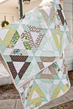 "My version of Camille Roskelley's ""Hopscotch"" quilt pattern."