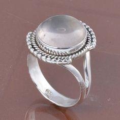 SOLID 925 STERLING SILVER DESIGNER ROSE QUARTZ RING 5.16g DJR6206 #Handmade #Ring