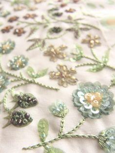 Liberty print x beads embroidery