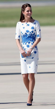 The Royals Visit Queensland, Australia | The Duchess wears an L.K. Bennett dress as she and Wills leave Sydney |  #KateMiddleton