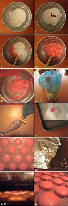 Step by step photo of the Macaron making process