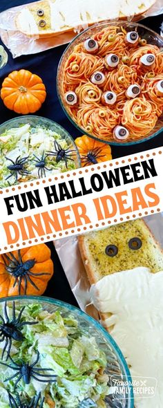 Sometimes Halloween dinner ideas are a hodgepodge of random dishes. I like how this dinner has a Halloween theme AND all the food complements each other. Plus, you can never go wrong with spaghetti and meatballs. Kids will gladly eat it because it is all familiar food but with a Halloween twist!