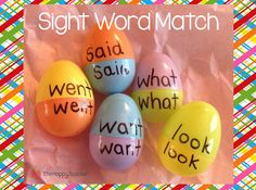 Use plastic eggs to match sight words, build compound words, find homophones and more! Have students write sentences using the compound words they make. Sight Word Games, Sight Word Activities, Easter Activities, Literacy Activities, Sight Words, Activities For Kids, Literacy Centers, Spring Activites, Spelling Centers
